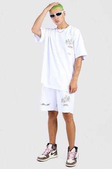 White Oversized Graffiti Print T-Shirt & Short Set