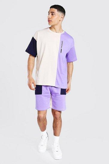 Purple Oversized MAN Colour Block T-Shirt and Short Set