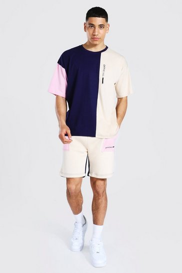 Pink Oversized MAN Colour Block T-Shirt and Short Set