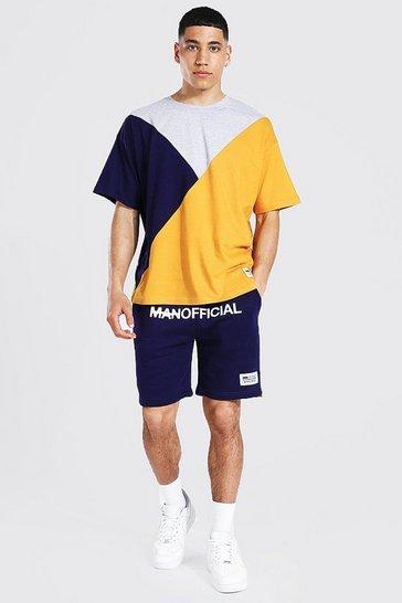 Navy MAN Spliced Colour Block T-Shirt and Short Set