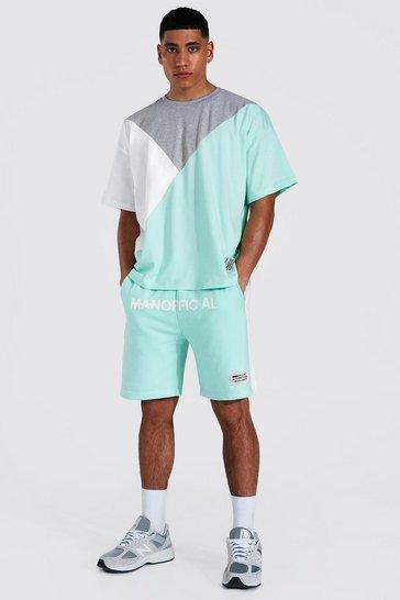Aqua blue MAN Spliced Colour Block T-Shirt and Short Set