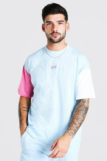 Aqua blue Colour Block Sleeve T-Shirt & Short Set