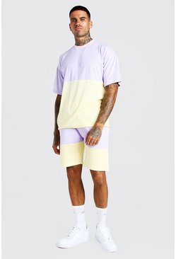 Lilac Oversized Colour Block T-Shirt & Short Set