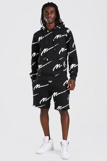 Black All Over MAN Printed Hooded Short Tracksuit