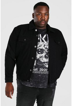 Black Plus Size Borg Lined Denim Jacket