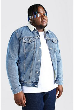 Mid blue Plus Size Borg Lined Denim Jacket