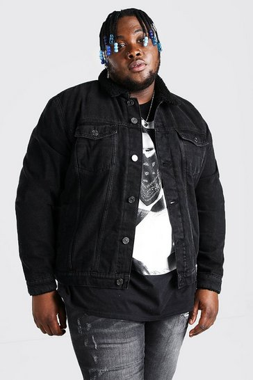Washed black Plus Size Borg Lined Denim Jacket