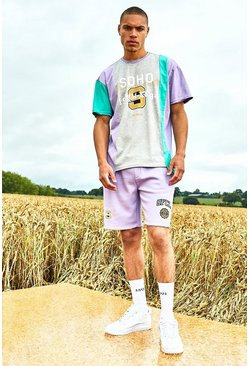 Lilac Varsity Soho Spliced Raw Hem T-Shirt And Short Set