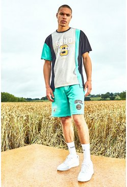 Mint Varsity Soho Spliced Raw Hem T-Shirt And Short Set