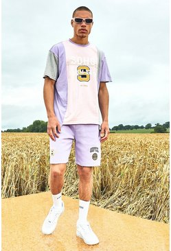 Light pink Varsity Soho Raw Hem T-Shirt And Short Set
