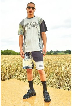 Grey Varsity Homme Spliced T-Shirt And Short Set