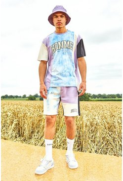 Lilac purple Varsity Homme Spliced Tie Dye T-Shirt And Short Set