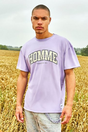 Lilac purple Oversized Varsity Raw Edge T-Shirt With Tab Detail