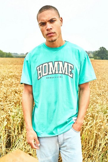 Mint green Oversized Varsity Raw Edge T-shirt With Tab Detail