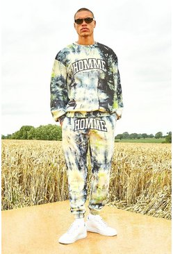 Yellow Varsity Homme Tie Dye Sweater Tracksuit