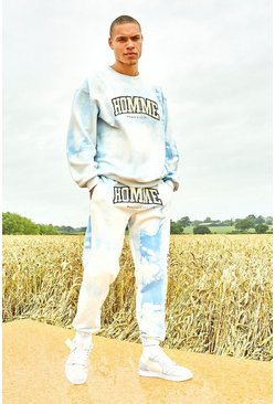 Light blue Varsity Homme Tie Dye Sweater Tracksuit