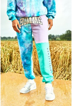 Mint green Varsity Homme Tie Dye Colour Block Joggers