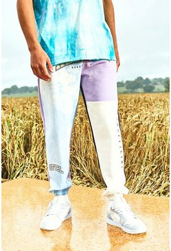 Lilac purple Varsity Homme Tie Dye Colour Block Joggers