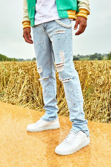 Ice blue Skinny Split Hem Paint Splatter Jean With Chain