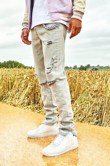 Grey Skinny Split Hem Paint Splatter Jean With Chain