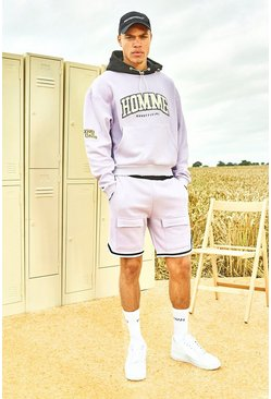 Lilac Varsity Homme Short Tracksuit With Sports Rib