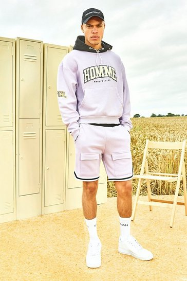 Lilac purple Varsity Homme Short Tracksuit With Sports Rib
