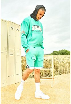 Mint green Varsity Homme Short Tracksuit With Sports Rib