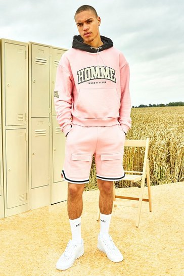 Light pink pink Varsity Homme Short Tracksuit With Sports Rib