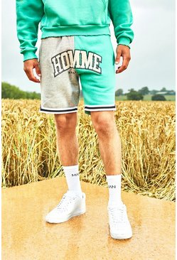 Grey Varsity Homme Basketball Shorts With Sports Rib