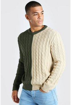 Khaki Cable Knit Colour Block Spliced Jumper