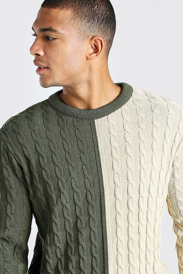 Pull épissé colorblock en tricot torsadé | boohoo