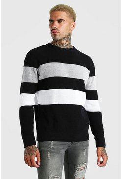 Black Long Sleeve Stripe Knitted Jumper