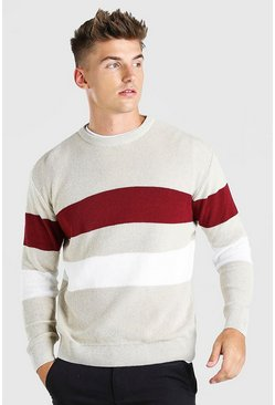 Stone Long Sleeve Stripe Knitted Sweater