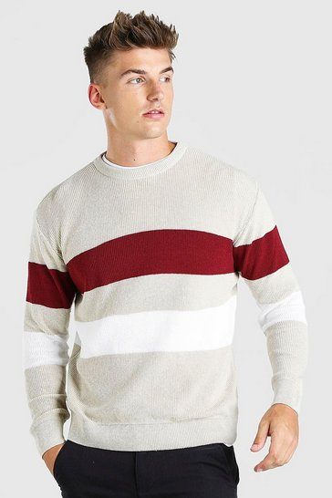 Stone beige Long Sleeve Stripe Knitted Jumper
