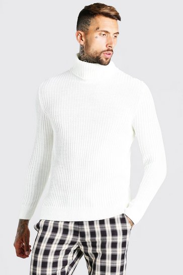 Off white white High Funnel Neck Jumper