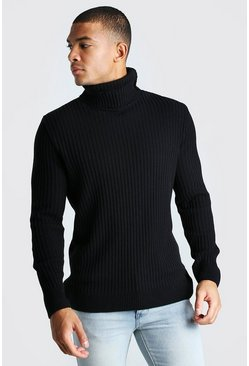Black Balaclava Roll Neck Knitted Jumper