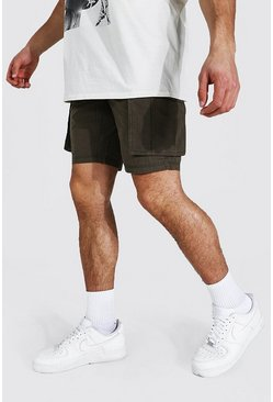 Khaki Fixed Waist Cargo Short