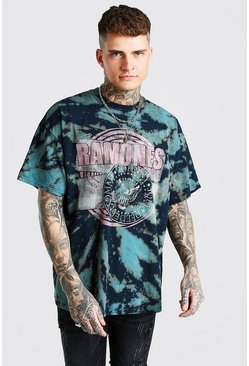 Grey Oversized Ramones Tie Dye License T-Shirt