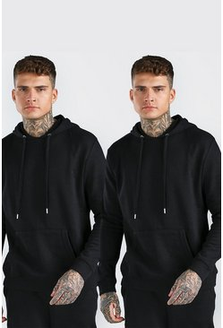 Black 2 Pack Basic Over The Head Hoodie