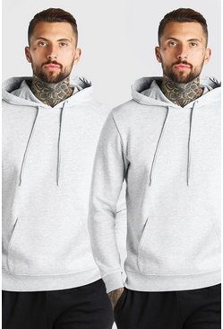 Grey marl grå Basic Hoodies (2-pack)