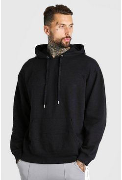 Black Oversized Basic Over The Head Hoodie