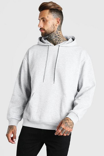 Grey marl grey Oversized Basic Over The Head Hoodie