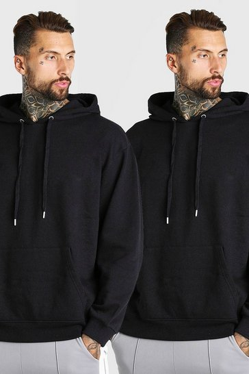 Black 2 Pack Oversized Basic Over The Head Hoodie