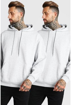 Grey marl grey 2 Pack Oversized Basic Over The Head Hoodie