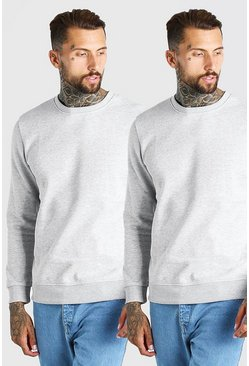 Grey marl grå Basic Sweatshirts (2-pack)