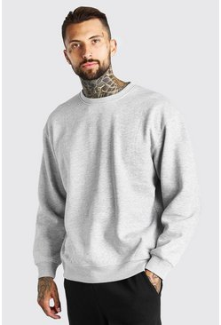 Grey marl grey Oversized Crew Neck Sweatshirt
