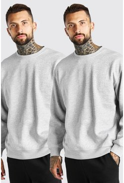 Grey marl grey 2 Pack Oversized Sweatshirt