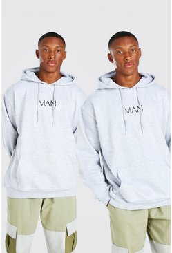 Grey marl grey 2 Pack Oversized Original MAN Hoodie