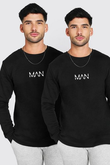 Black 2 Pack Oversized Original MAN Sweatshirt