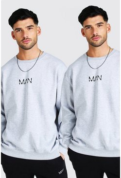 Grey marl grey 2 Pack Oversized Original MAN Sweatshirt